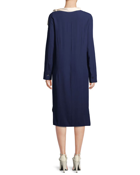 Long-Sleeve Midi Dress with Satin Scarf, Blue
