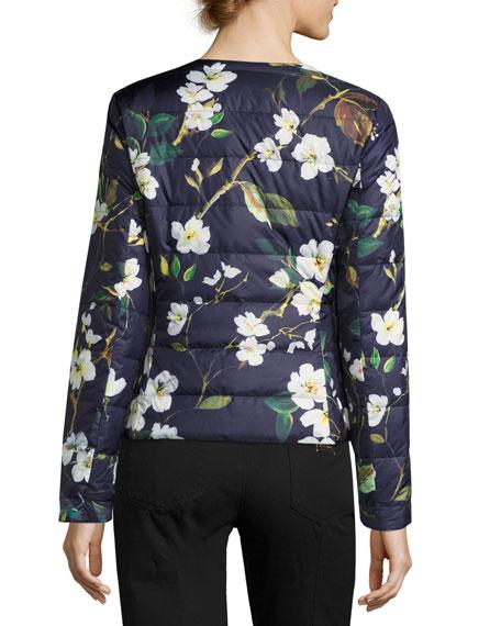 Magnolia-Print Puffer Jacket, Fantasy