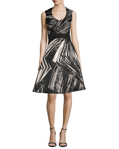 Rubin Singer Abstract-Stripe Sleeveless Fit & Flare Dress,