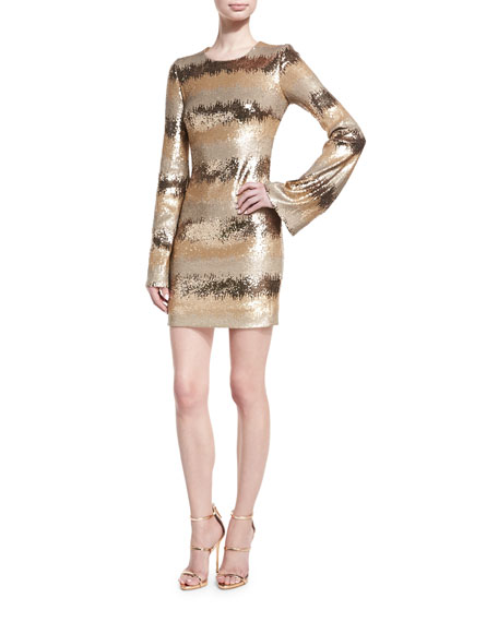Rubin Singer Sequined-Stripe Bell-Sleeve Minidress