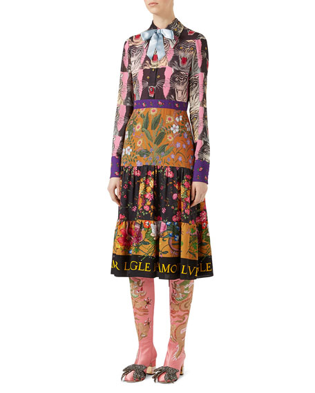 Gucci Patchwork Print Viscose Dress, Pink