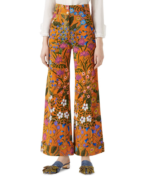 Gucci New Flora Print Corduroy Pants, Multicolor