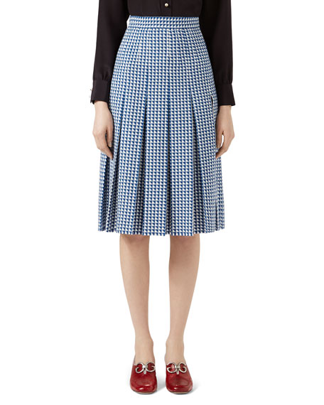 Pleated Wool Skirt, Blue/White