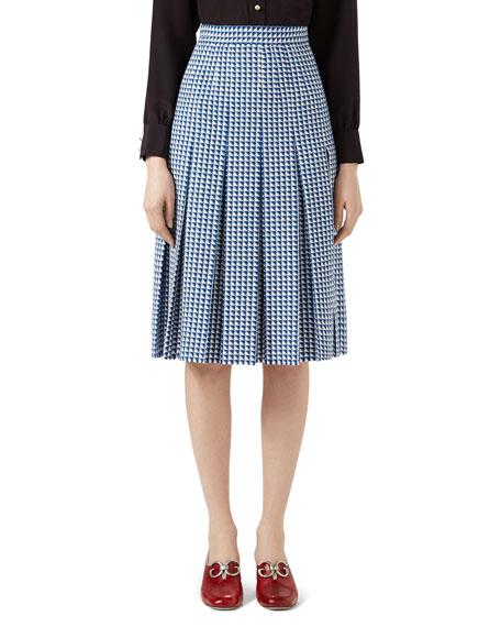 Pleated Wool Skirt, Blue/White