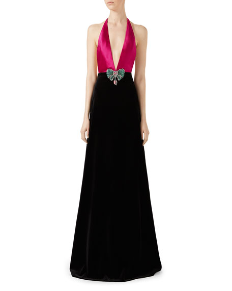 Gucci Soft Cotton Velvet Stretch Gown, Pink/Black