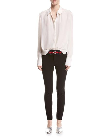Compact Knit Leggings with Sylvie Web Belt, Black