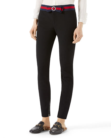 Gucci Compact Knit Leggings with Sylvie Web Belt,