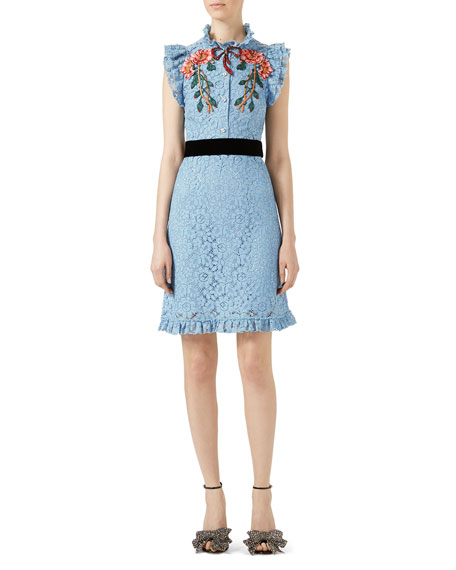 Gucci Embroidered Cluny Lace Dress, Light Blue