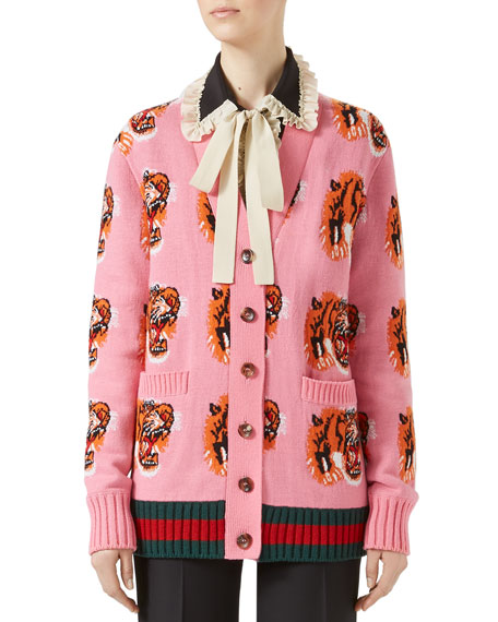 Wool Tiger Jacquard Cardigan, Pink