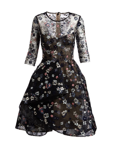 Floral-Embroidered Illusion Fit & Flare Dress