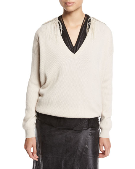 Brunello Cucinelli Cashmere V-Neck Boyfriend Sweater with Feather
