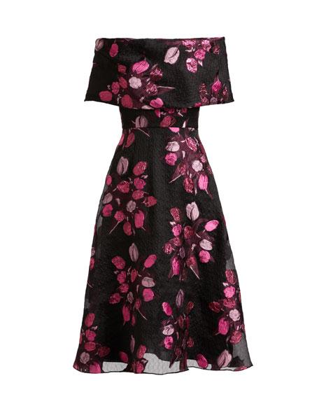 Lela Rose Tulip Fil Coupe Off-the-Shoulder A-Line Dress