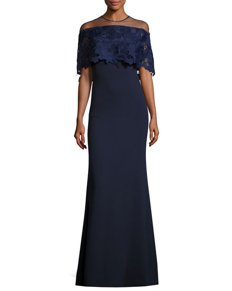 Lela Rose Guipure Lace-Capelet Illusion Gown