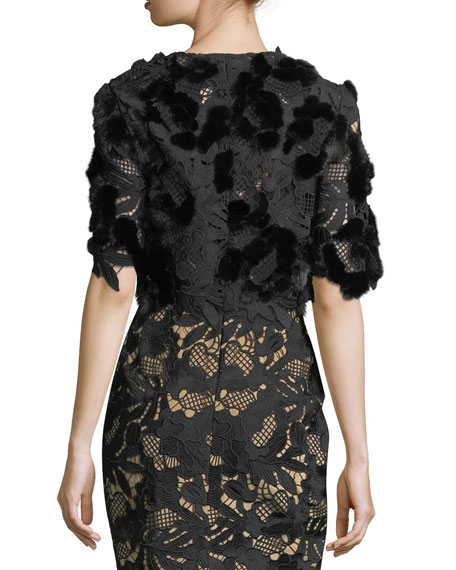 Guipure Lace Bolero with Mink Fur Trim