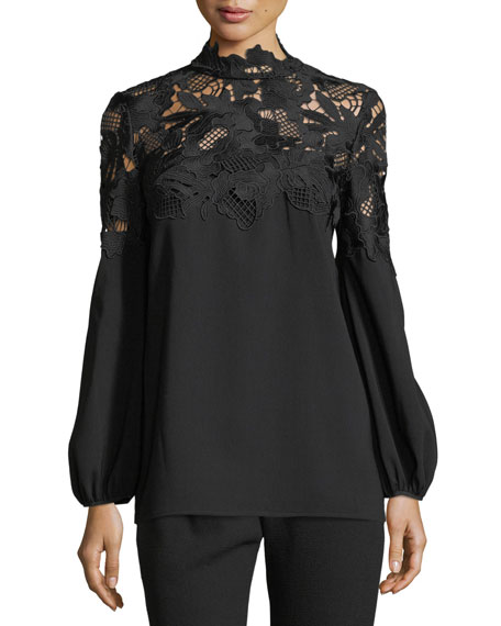 Lela Rose Guipure Lace-Yoke Blouse and Matching Items