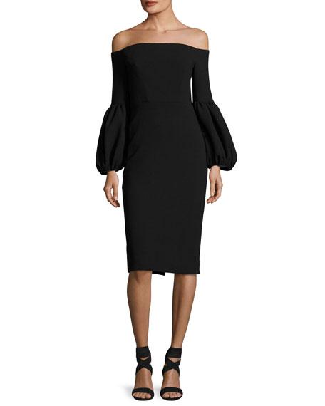 Lela Rose Off-the-Shoulder Full-Sleeve Sheath Dress