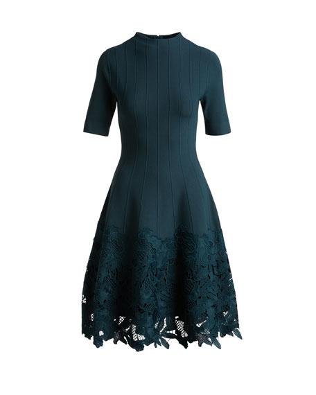 Ottoman Knit Dress with Lace Hem