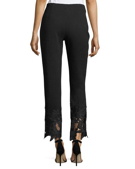 Guipure Lace-Hem High-Waist Wool Crepe Pants