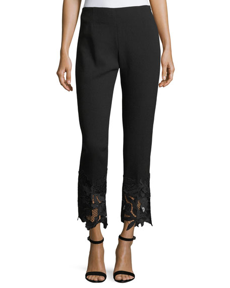 Lela Rose Guipure Lace-Hem High-Waist Wool Crepe Pants