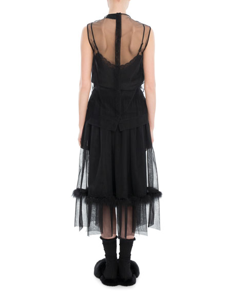 Ruffled Tulle Feather-Trim Midi Dress