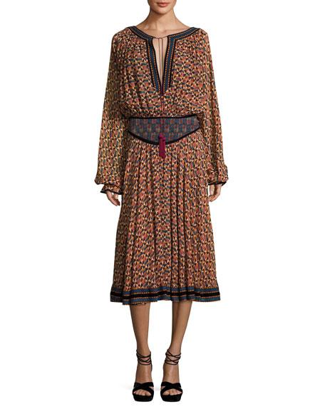 Rosa Banded-Waist Printed Georgette Midi Dress