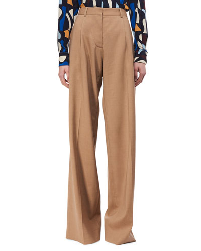 Wide-Leg Virgin Wool Trousers, Camel