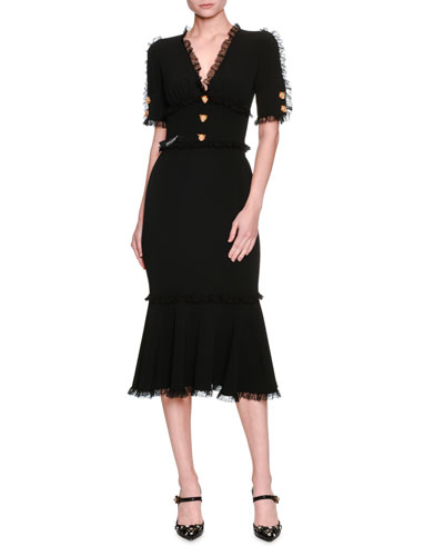 Lace-Trim Tiger-Button Cady Dress, Black