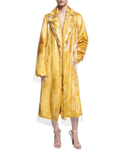 Plastic-Covered Faux-Fur Trench Coat