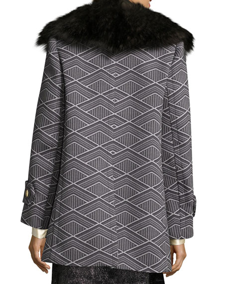 Geo-Diamond Techno Coat with Fur Collar