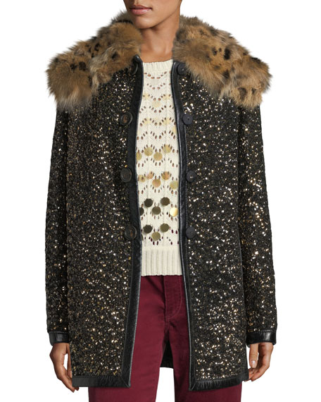 Marc Jacobs Hammered-Sequin Coat with Fur Collar and