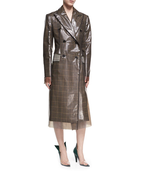 Plastic-Covered Plaid Double-Breasted Coat