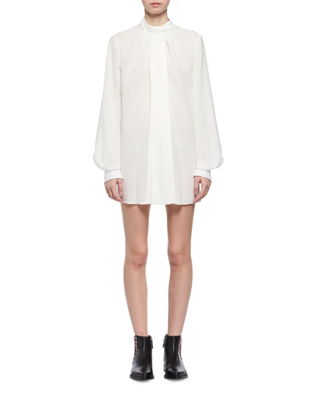 Alexander McQueen Tie-Neck Silk Poet-Sleeve Minidress
