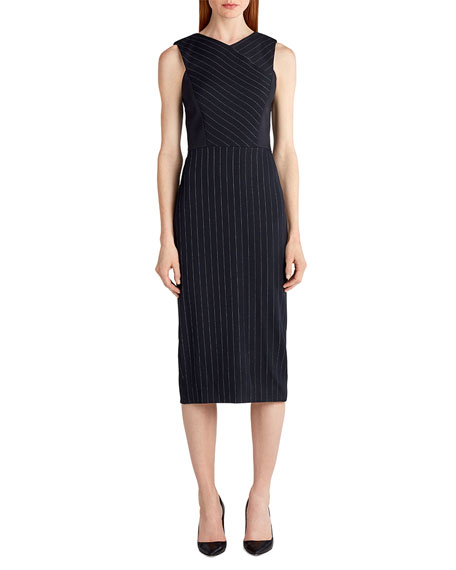 Jason Wu Pinstripe Stretch-Crepe Sheath Dress, White/Black and