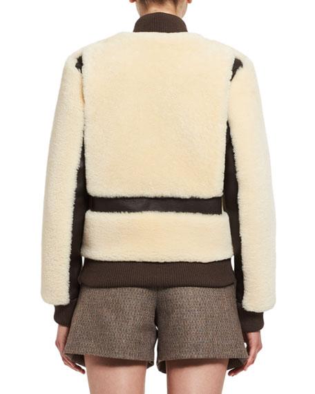 Teddy Bear Shearling Bomber Jacket, White
