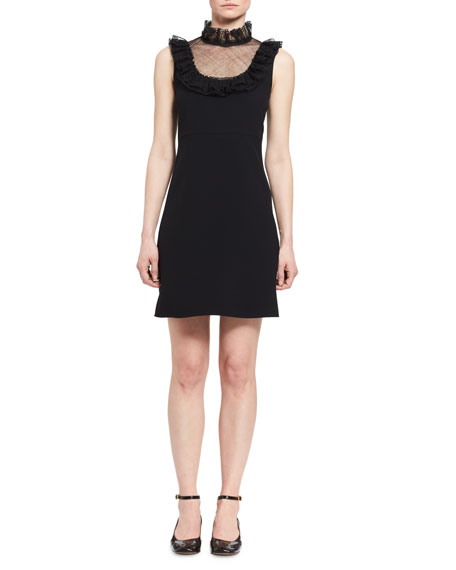 Chloe Frill Tulle-Yoke Sleeveless Minidress