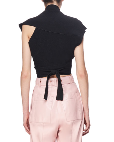Proenza Schouler Cropped Asymmetric Wrap Sweater, Black
