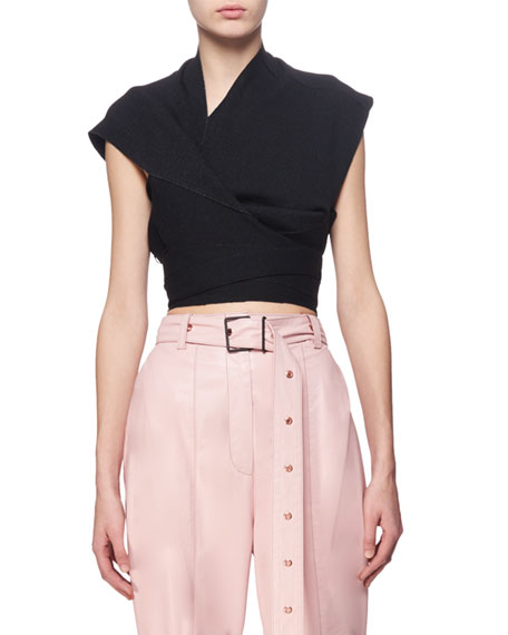 Proenza Schouler Cropped Asymmetric Wrap Sweater, Black and