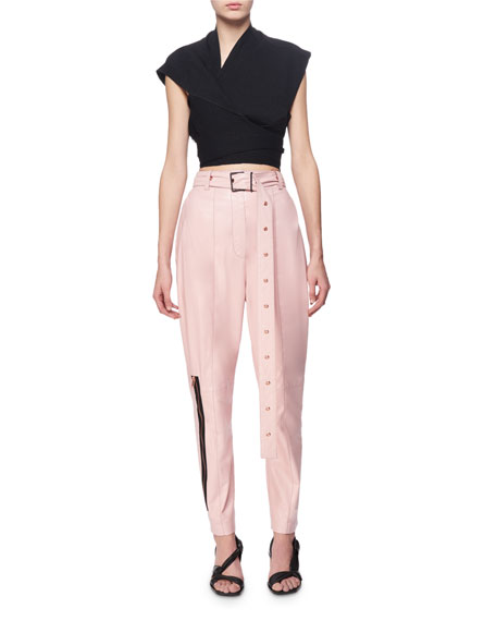 Belted Leather Carrot Pants, Pink