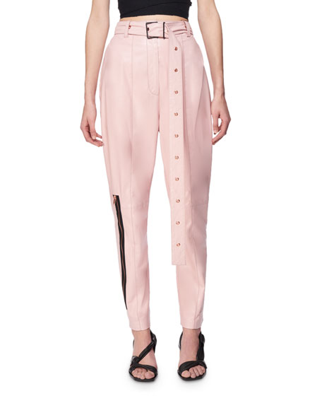 Proenza Schouler Belted Leather Carrot Pants, Pink