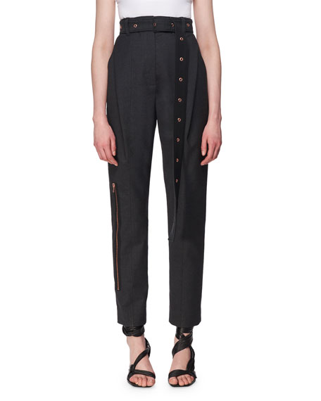 Belted Virgin Wool Carrot Pants, Charcoal