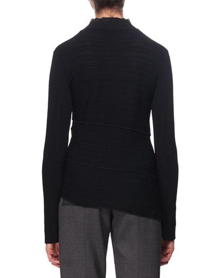 Spiral-Knit Mock-Neck Sweater, Black