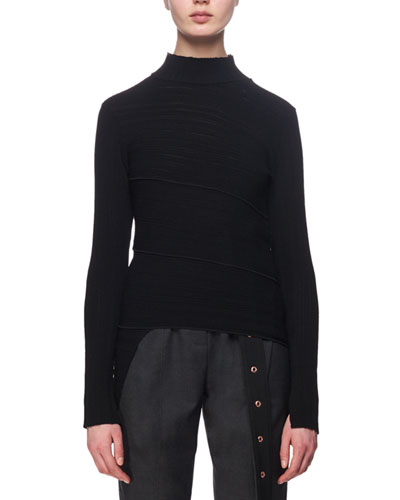Spiral-Knit Mock-Neck Sweater, Black