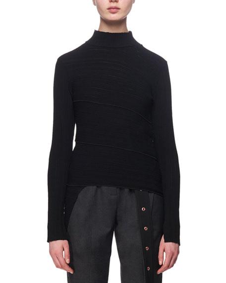 Proenza Schouler Spiral-Knit Mock-Neck Sweater, Black