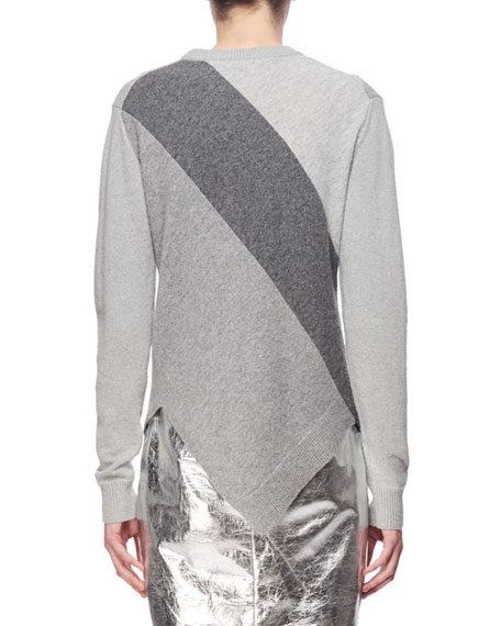 Paneled Wool-Cashmere Asymmetric Sweater, Gray