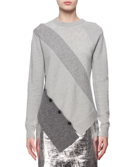 Proenza Schouler Paneled Wool-Cashmere Asymmetric Sweater, Gray