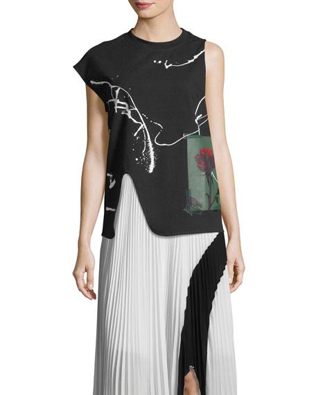 Proenza Schouler Paint-Splatter Cutout Sweater with Back Zip,