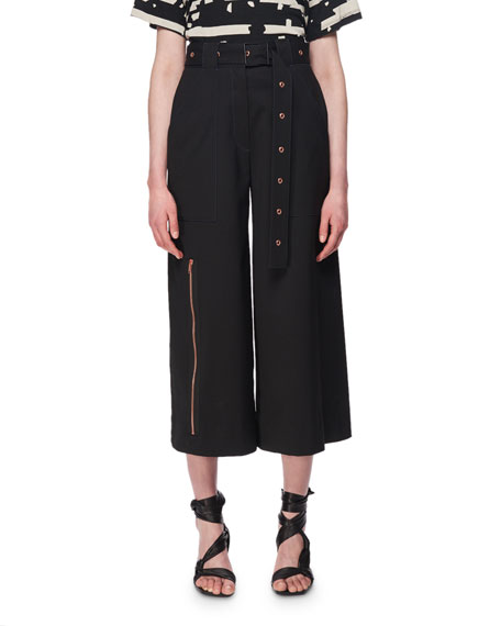 Belted Wool Zipper-Detail Culottes, Black