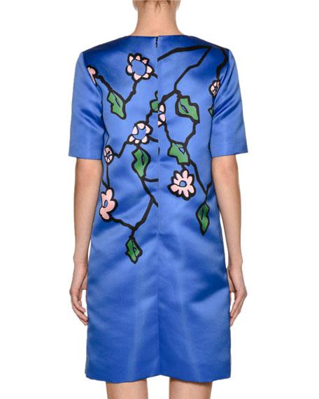 Floral-Print Duchesse Satin Shift Dress, Purple