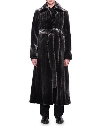 Neyton Belted Mink Fur Coat
