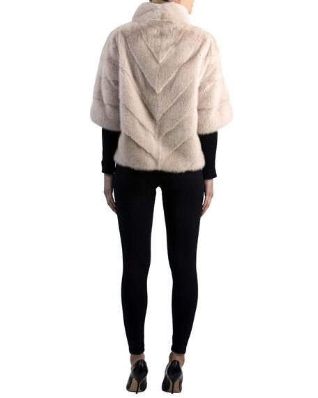 Chevron Mink Fur Topper Jacket